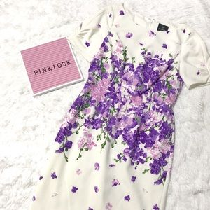 Adrianna Papell purple floral dress size 4